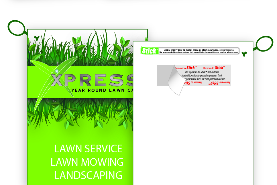 door hangers with band it that sticks for lawn care