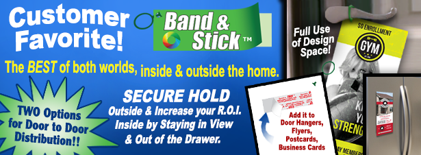 Band and Stick Door Hangers for distribution