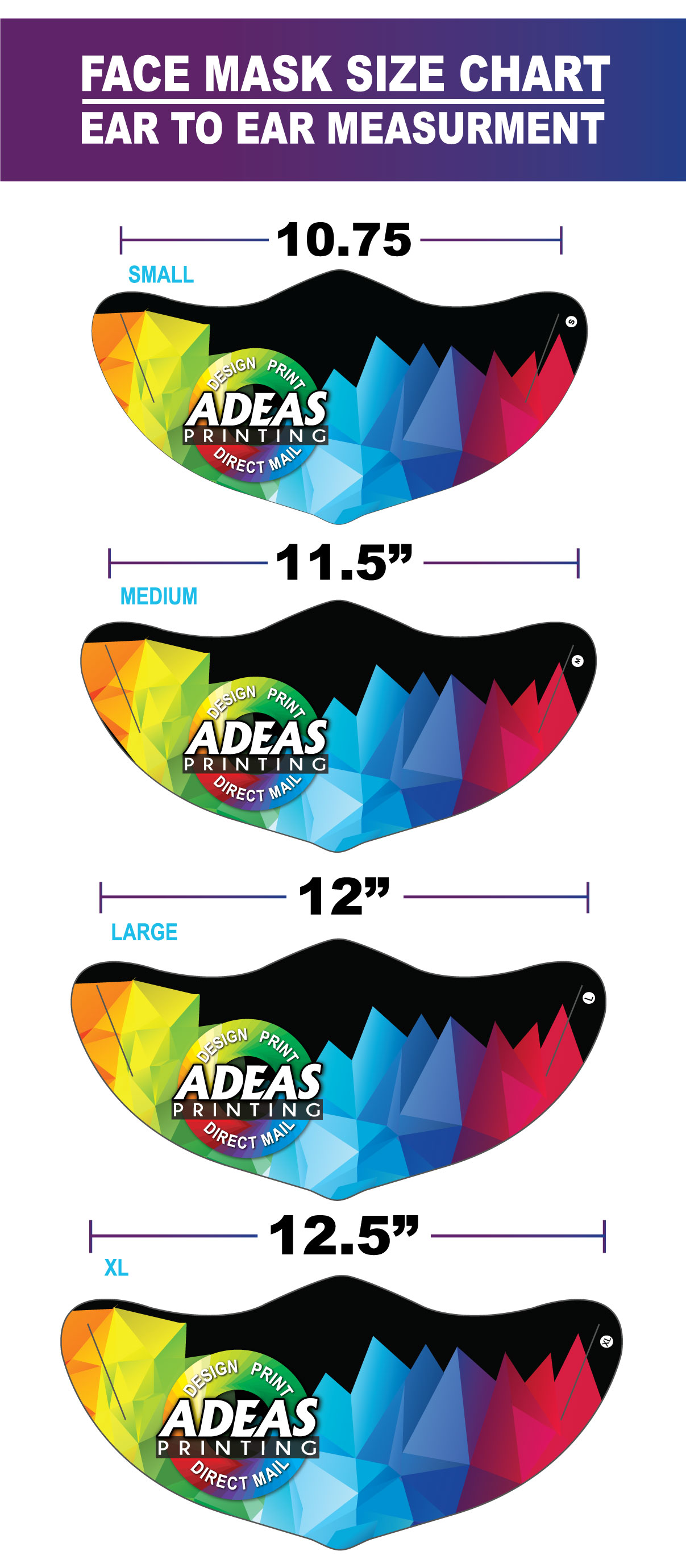 Face Mask Size Chart- ADeas