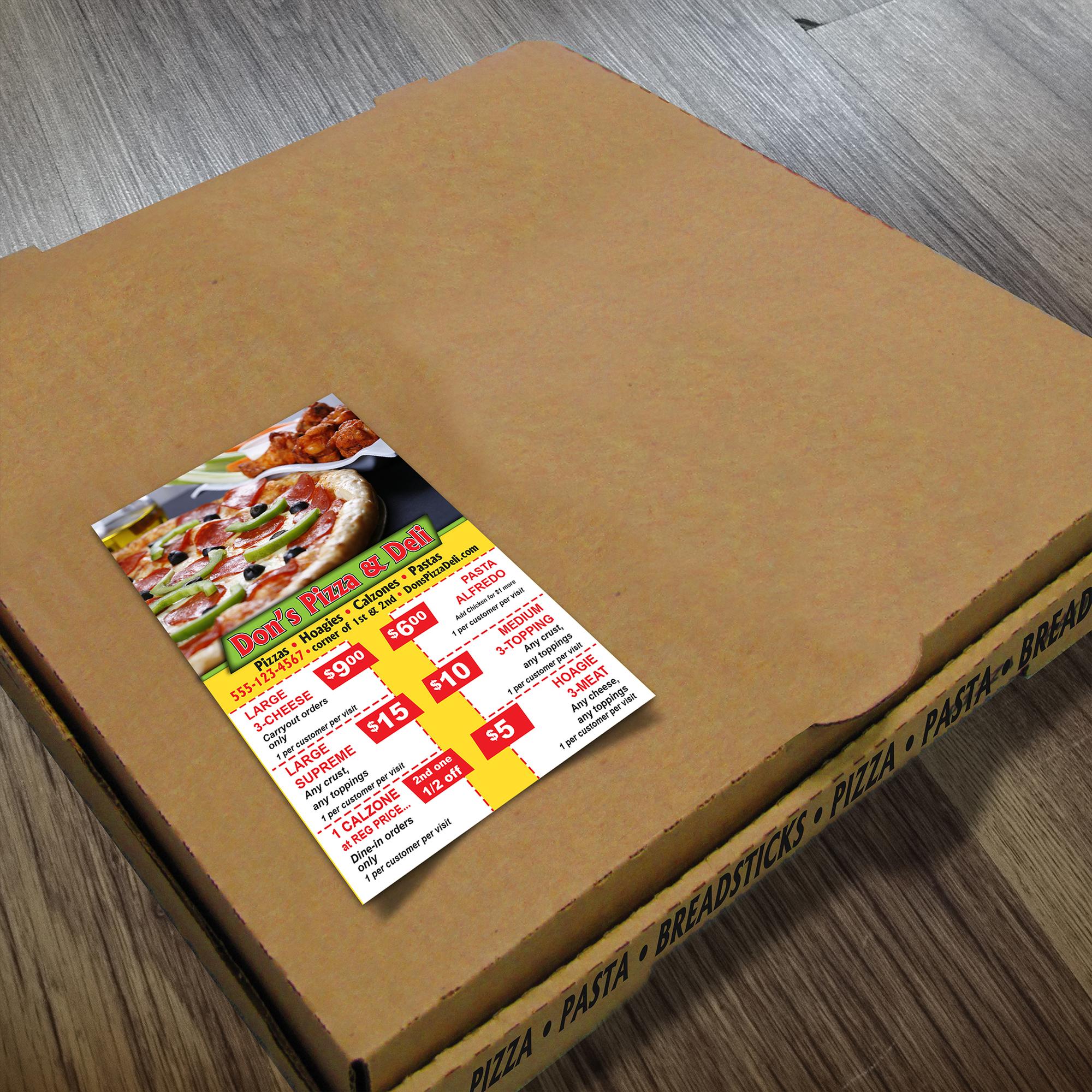 Boxtopper on pizza box