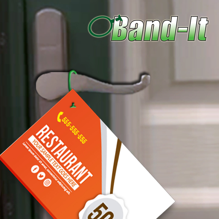Postcard on door with Band-It